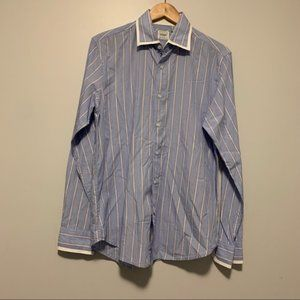 Guess men's casual blue striped button front shirt